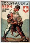 Vintage Travel Poster, Schwing and Alplerfest Bern